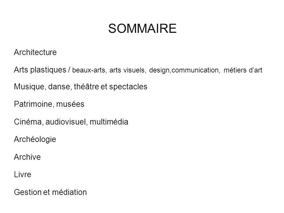 SOMMAIRE Architecture Arts plastiques / beaux-arts, arts visuels, design,communication, métiers dart Musique, danse, théâtre et spectacles Patrimoine,