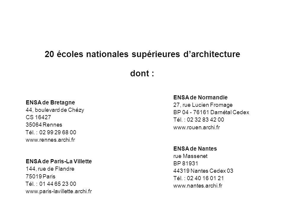 Cliquez pour modifier le style des sous-titres du masque 20 écoles nationales supérieures darchitecture dont : ENSA de Bretagne 44, boulevard de Chézy