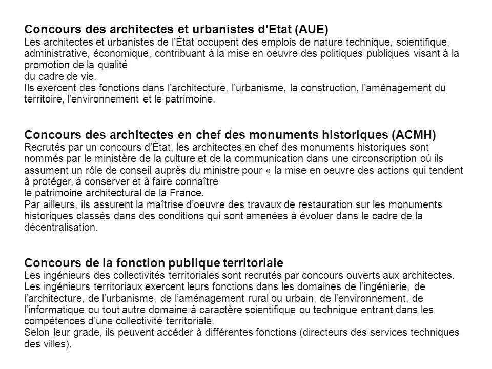 Cliquez pour modifier le style des sous-titres du masque Concours des architectes et urbanistes d'Etat (AUE) Les architectes et urbanistes de lÉtat oc