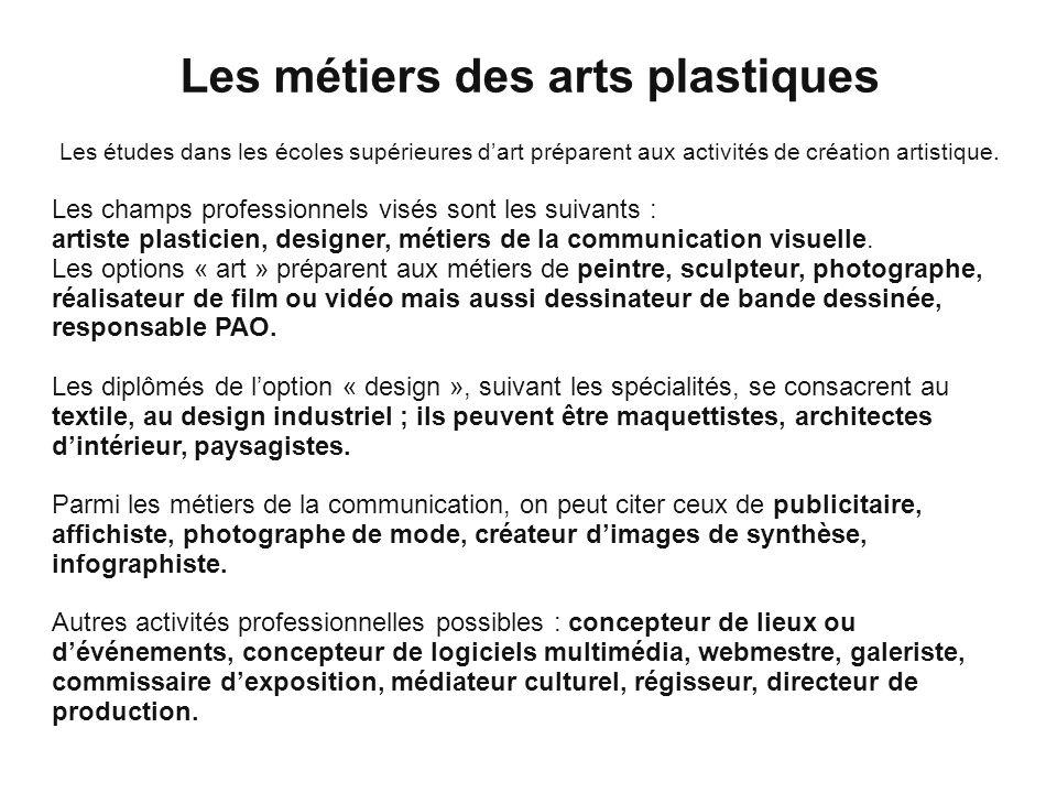 Les métiers des arts plastiques Les études dans les écoles supérieures dart préparent aux activités de création artistique. Les champs professionnels