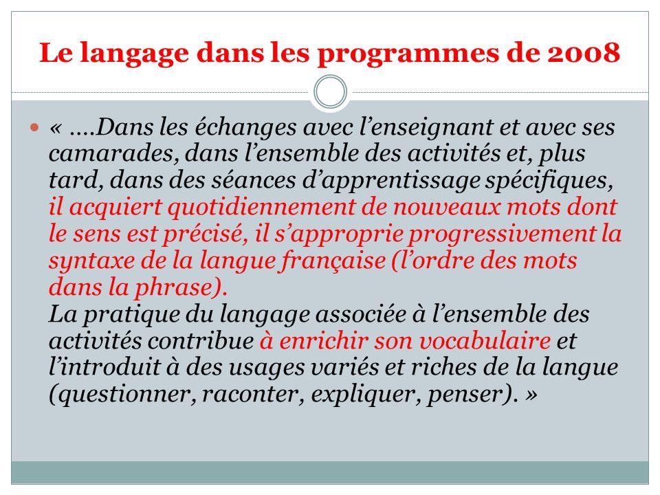 Le langage dans les programmes de 2008 « ….Dans les échanges avec lenseignant et avec ses camarades, dans lensemble des activités et, plus tard, dans