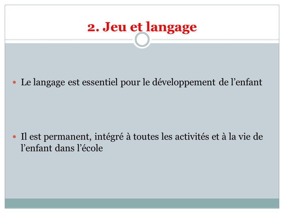 2. Jeu et langage Le langage est essentiel pour le développement de lenfant Il est permanent, intégré à toutes les activités et à la vie de lenfant da