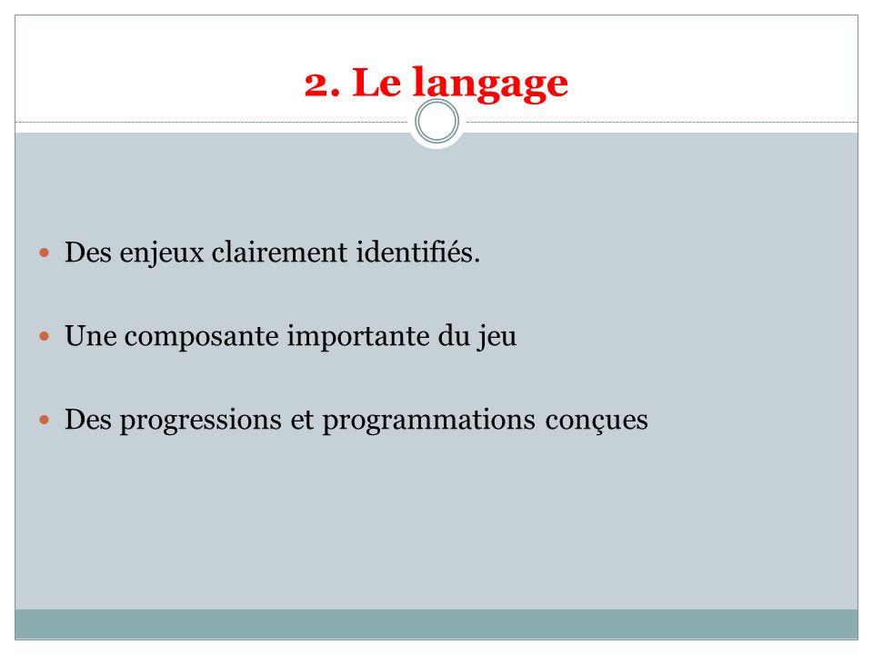 2. Le langage Des enjeux clairement identifiés. Une composante importante du jeu Des progressions et programmations conçues