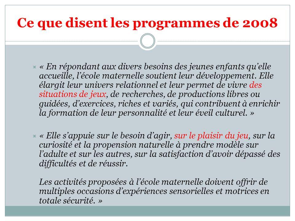 Ce que disent les programmes de 2008 « En répondant aux divers besoins des jeunes enfants quelle accueille, lécole maternelle soutient leur développem
