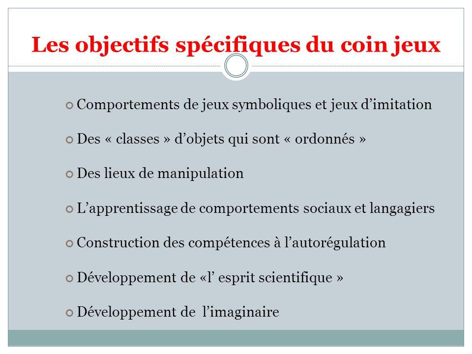 Les objectifs spécifiques du coin jeux Comportements de jeux symboliques et jeux dimitation Des « classes » dobjets qui sont « ordonnés » Des lieux de