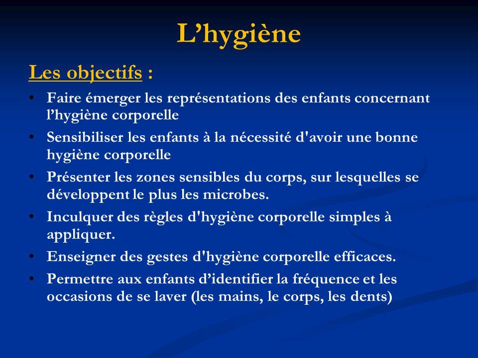 Lhygiène Les objectifs : Faire émerger les représentations des enfants concernant lhygiène corporelle Sensibiliser les enfants à la nécessité d avoir une bonne hygiène corporelle Présenter les zones sensibles du corps, sur lesquelles se développent le plus les microbes.
