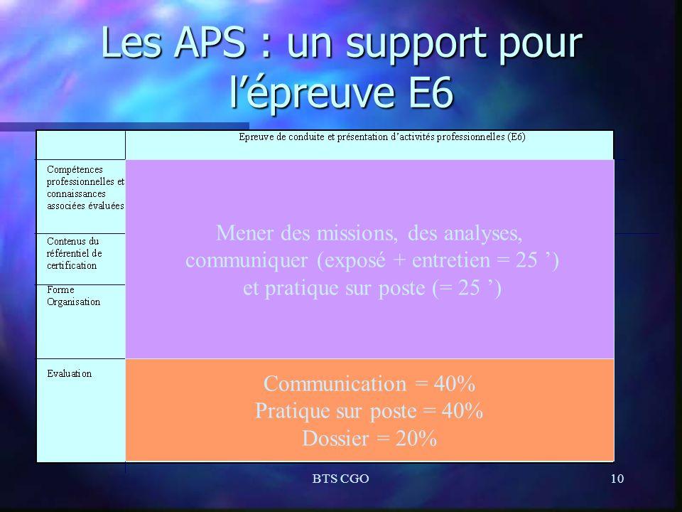 BTS CGO10 Les APS : un support pour lépreuve E6 Mener des missions, des analyses, communiquer (exposé + entretien = 25 ) et pratique sur poste (= 25 )