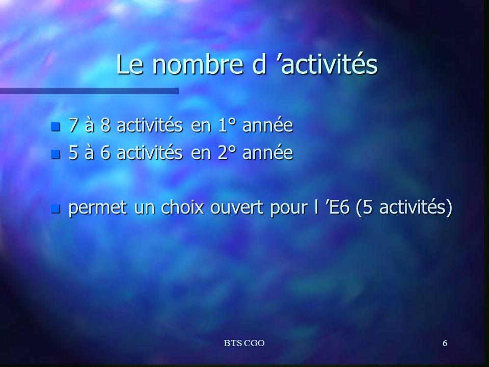 BTS CGO6 Le nombre d activités n 7 à 8 activités en 1° année n 5 à 6 activités en 2° année n permet un choix ouvert pour l E6 (5 activités)