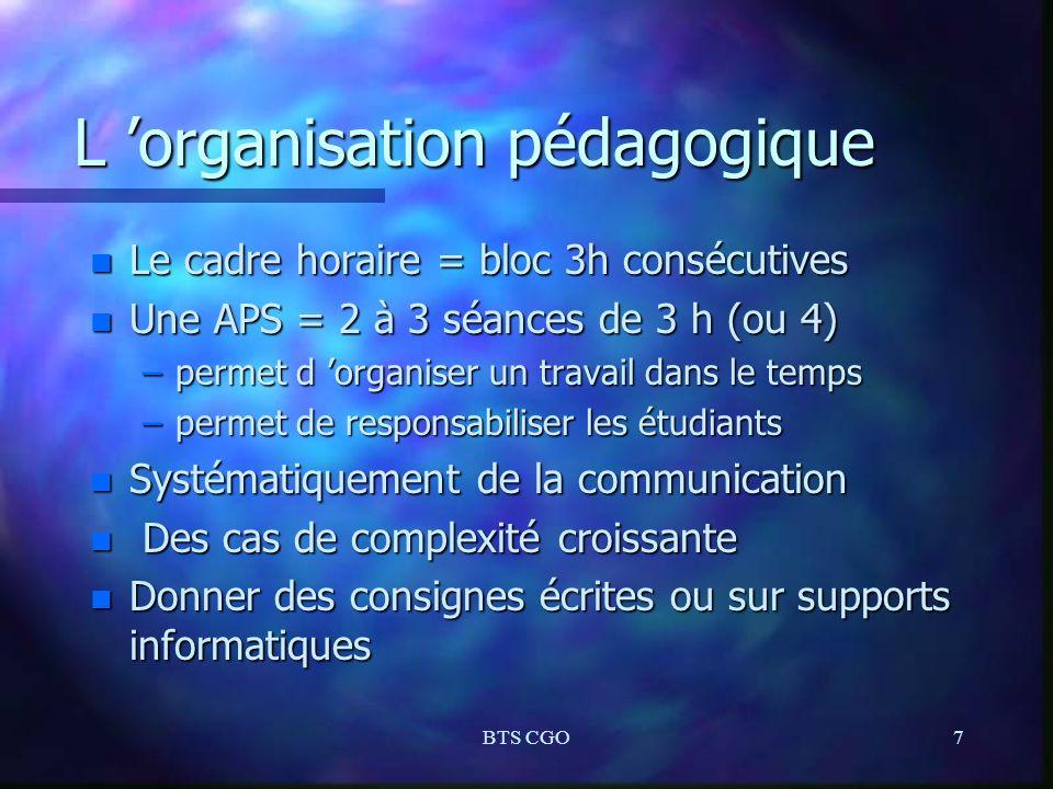 BTS CGO7 L organisation pédagogique n Le cadre horaire = bloc 3h consécutives n Une APS = 2 à 3 séances de 3 h (ou 4) –permet d organiser un travail d