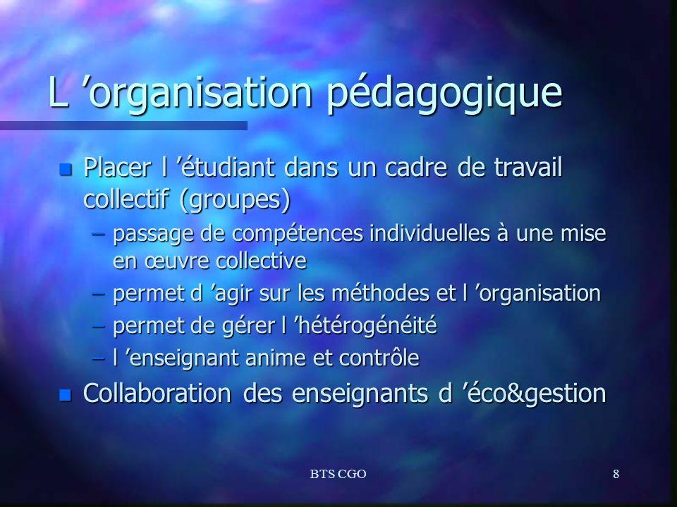 BTS CGO8 L organisation pédagogique n Placer l étudiant dans un cadre de travail collectif (groupes) –passage de compétences individuelles à une mise