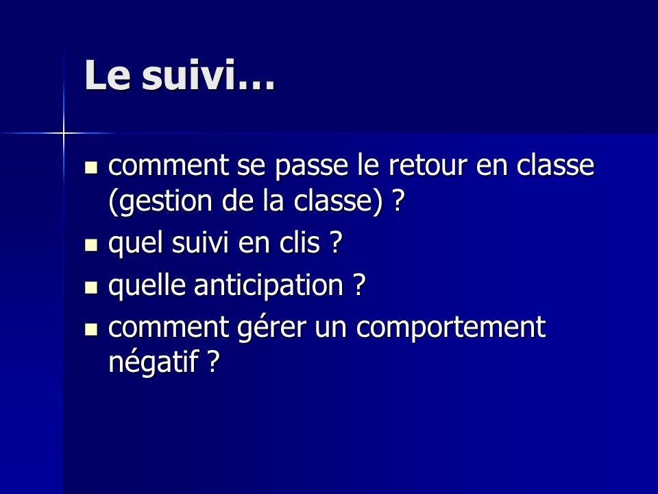 Le suivi… comment se passe le retour en classe (gestion de la classe) ? comment se passe le retour en classe (gestion de la classe) ? quel suivi en cl