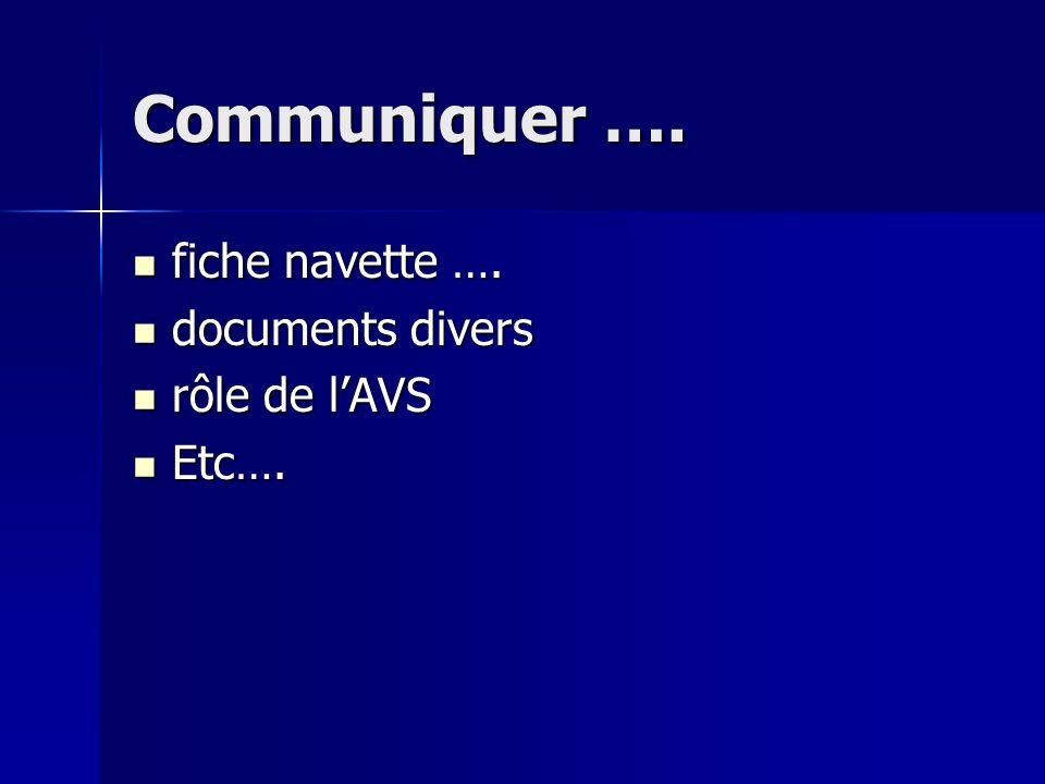 Communiquer …. fiche navette …. fiche navette …. documents divers documents divers rôle de lAVS rôle de lAVS Etc…. Etc….