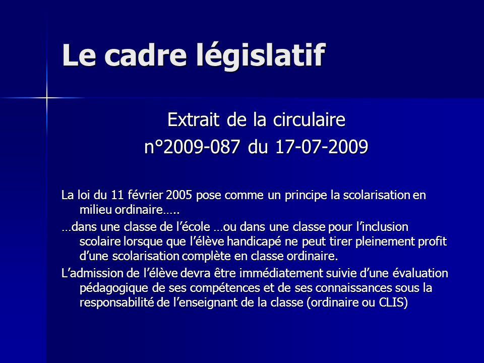 Le cadre législatif Extrait de la circulaire n°2009-087 du 17-07-2009 La loi du 11 février 2005 pose comme un principe la scolarisation en milieu ordi