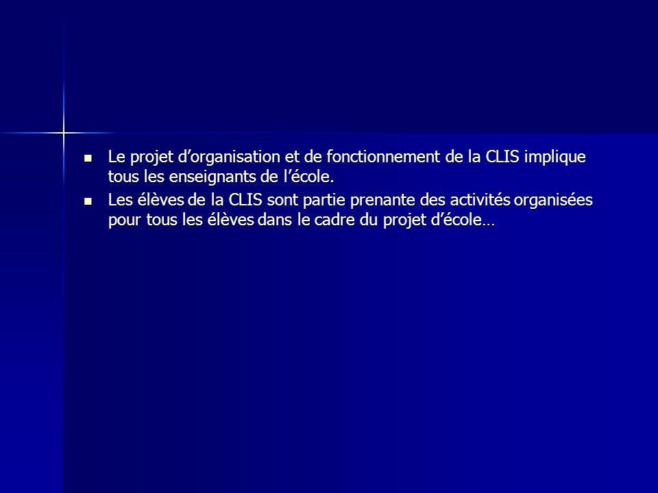 Le projet dorganisation et de fonctionnement de la CLIS implique tous les enseignants de lécole. Le projet dorganisation et de fonctionnement de la CL