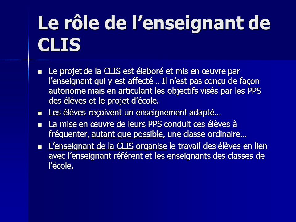 Le rôle de lenseignant de CLIS Le projet de la CLIS est élaboré et mis en œuvre par lenseignant qui y est affecté… Il nest pas conçu de façon autonome
