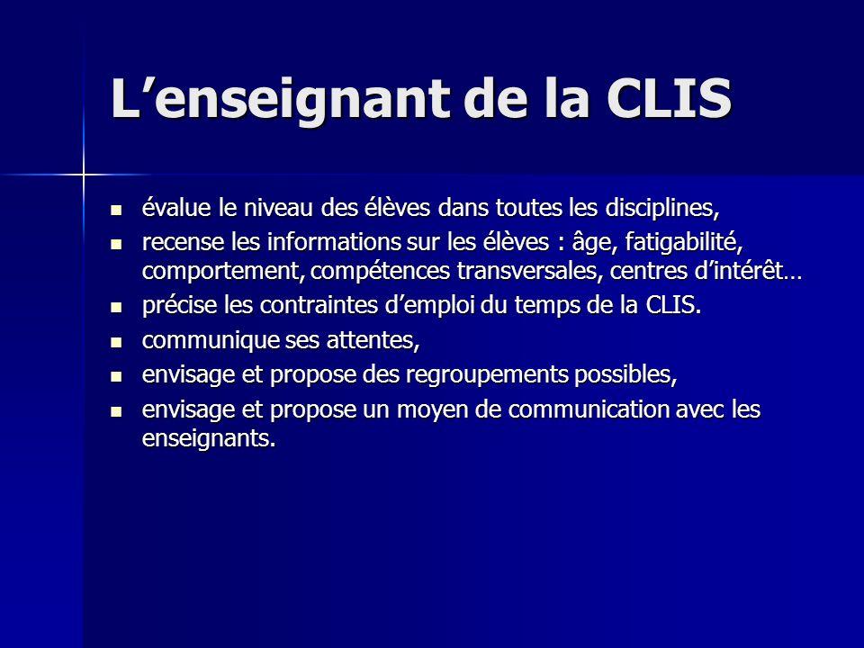 Lenseignant de la CLIS évalue le niveau des élèves dans toutes les disciplines, évalue le niveau des élèves dans toutes les disciplines, recense les i