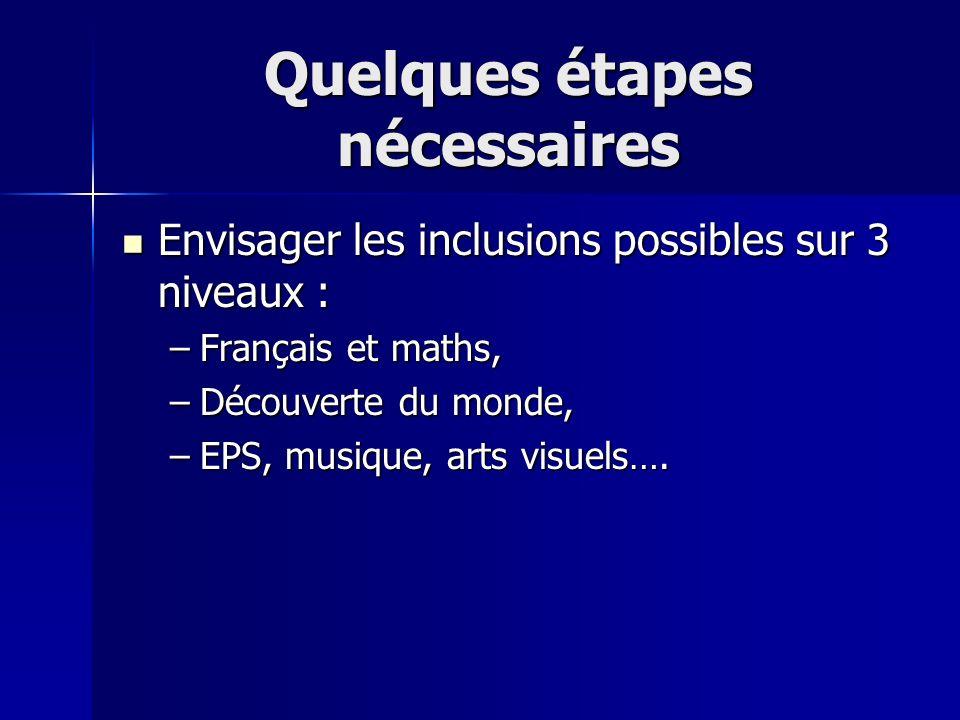 Quelques étapes nécessaires Envisager les inclusions possibles sur 3 niveaux : Envisager les inclusions possibles sur 3 niveaux : –Français et maths,