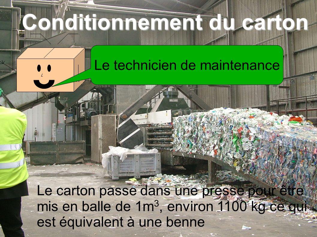 Le carton passe dans une presse pour être mis en balle de 1m 3, environ 1100 kg ce qui est équivalent à une benne Conditionnement du carton Le technicien de maintenance