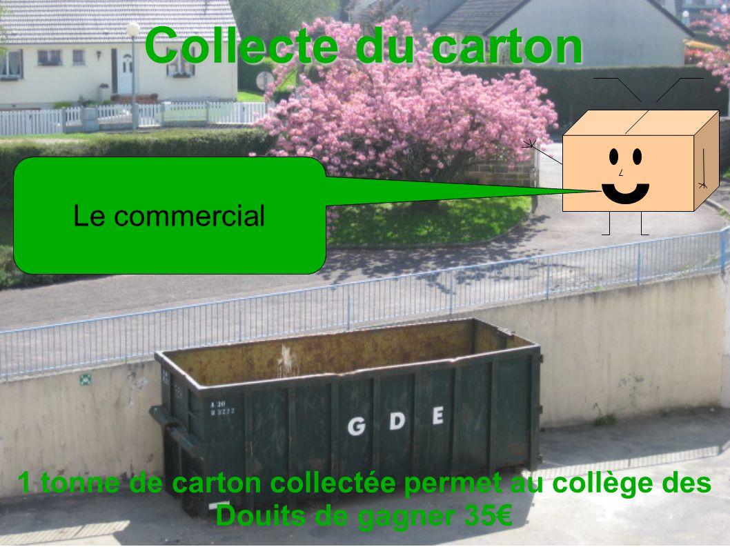 Collecte du carton 1 tonne de carton collectée permet au collège des Douits de gagner 35 Le commercial