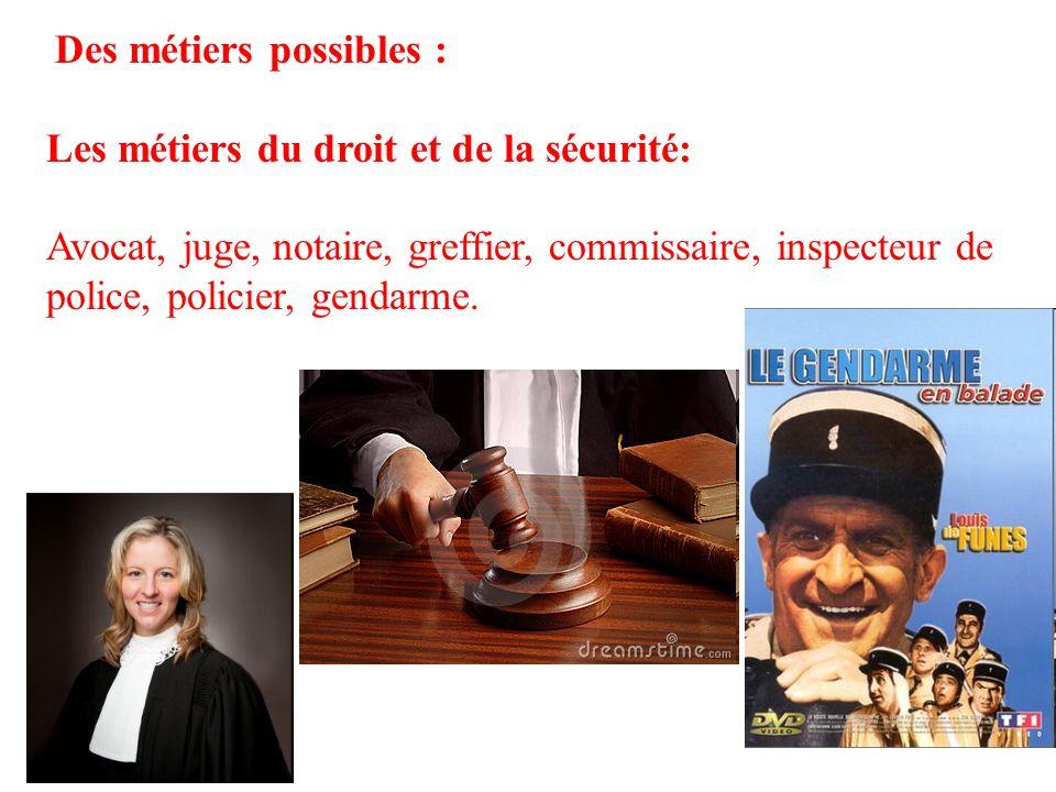 16 Des métiers possibles : Les métiers du droit et de la sécurité: Avocat, juge, notaire, greffier, commissaire, inspecteur de police, policier, genda