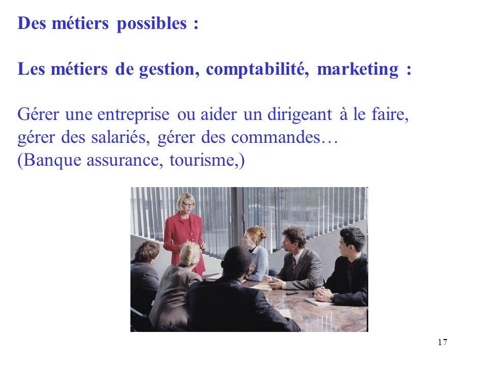 17 Des métiers possibles : Les métiers de gestion, comptabilité, marketing : Gérer une entreprise ou aider un dirigeant à le faire, gérer des salariés