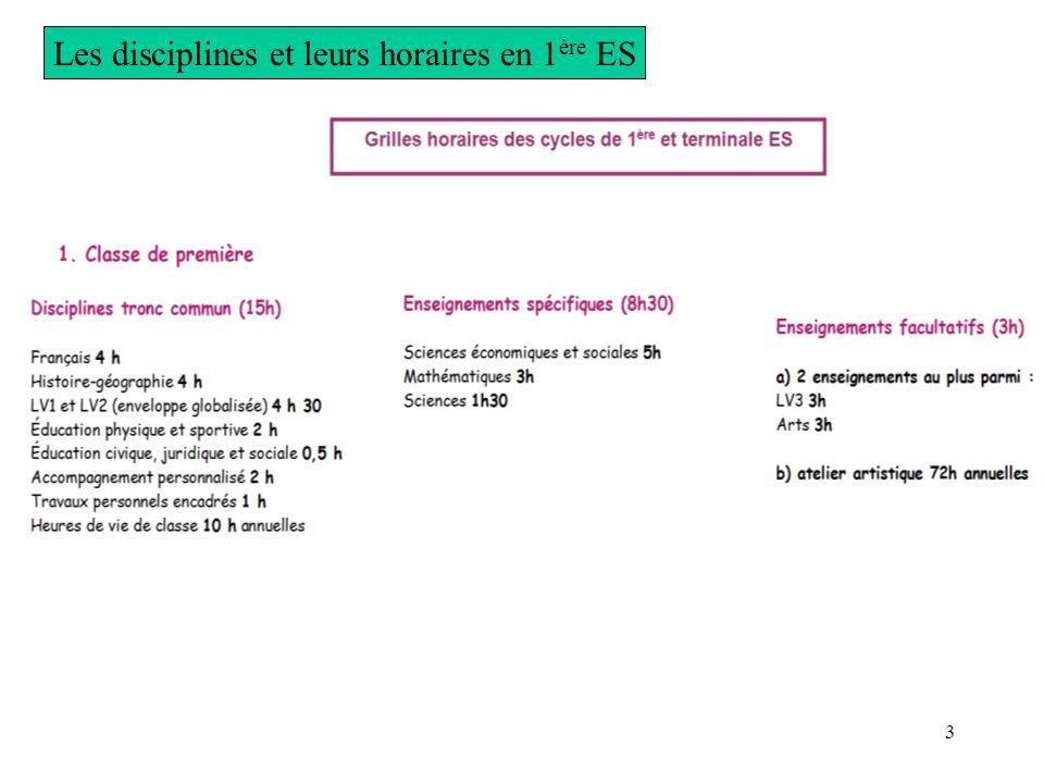 3 Les disciplines et leurs horaires en 1 ère ES