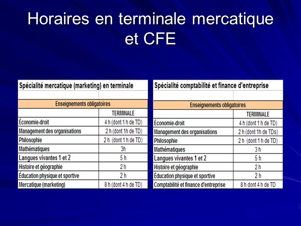 Horaires en terminale mercatique et CFE