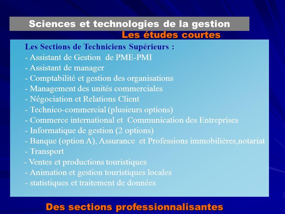 Les études courtes Les Sections de Techniciens Supérieurs : - Assistant de Gestion de PME-PMI - Assistant de manager - Comptabilité et gestion des org