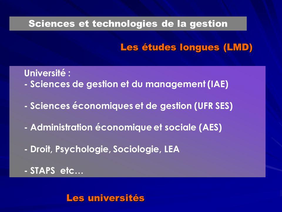 Les études longues (LMD) Université : - Sciences de gestion et du management (IAE) - Sciences économiques et de gestion (UFR SES) - Administration économique et sociale (AES) - Droit, Psychologie, Sociologie, LEA - STAPS etc… Sciences et technologies de la gestion Les universités