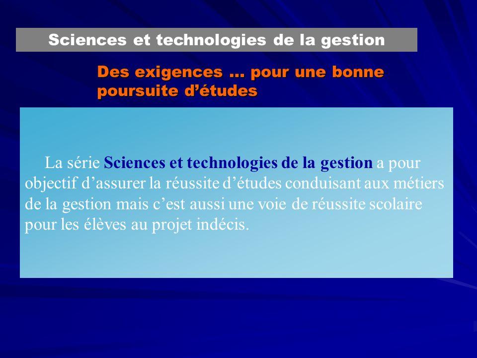 Des exigences … pour une bonne poursuite détudes La série Sciences et technologies de la gestion a pour objectif dassurer la réussite détudes conduisa