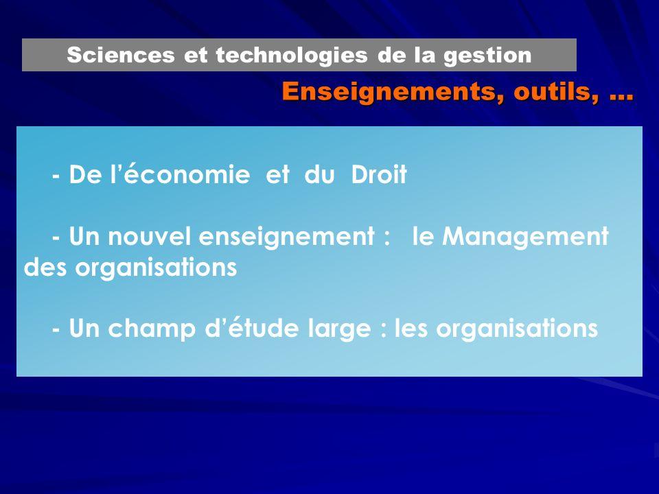 Enseignements, outils, … - De léconomie et du Droit - Un nouvel enseignement : le Management des organisations - Un champ détude large : les organisat