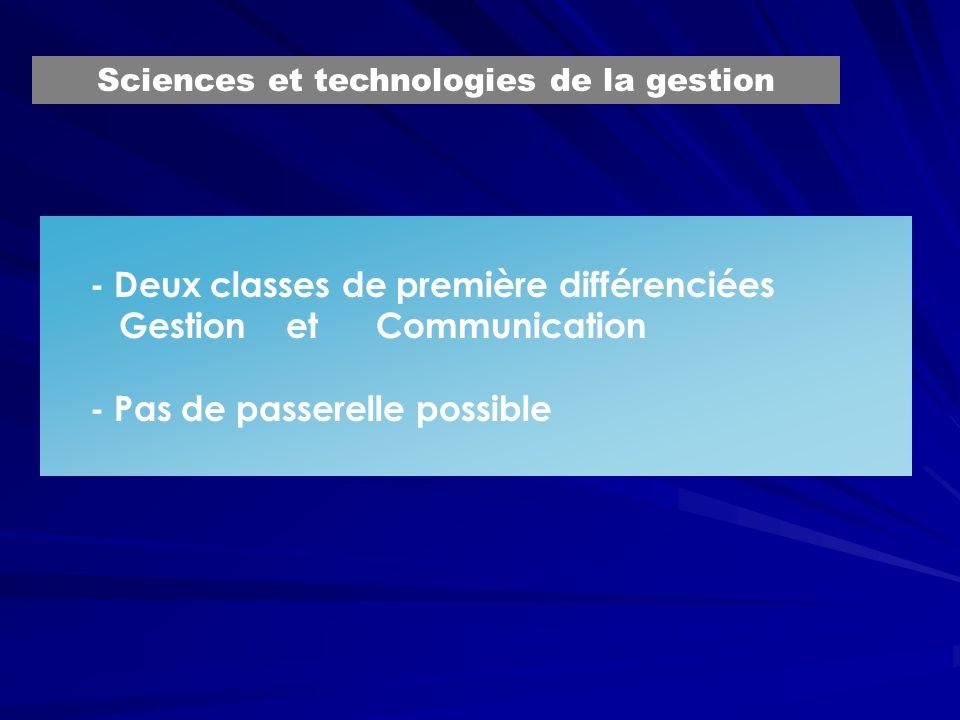 - Deux classes de première différenciées Gestion et Communication - Pas de passerelle possible Sciences et technologies de la gestion