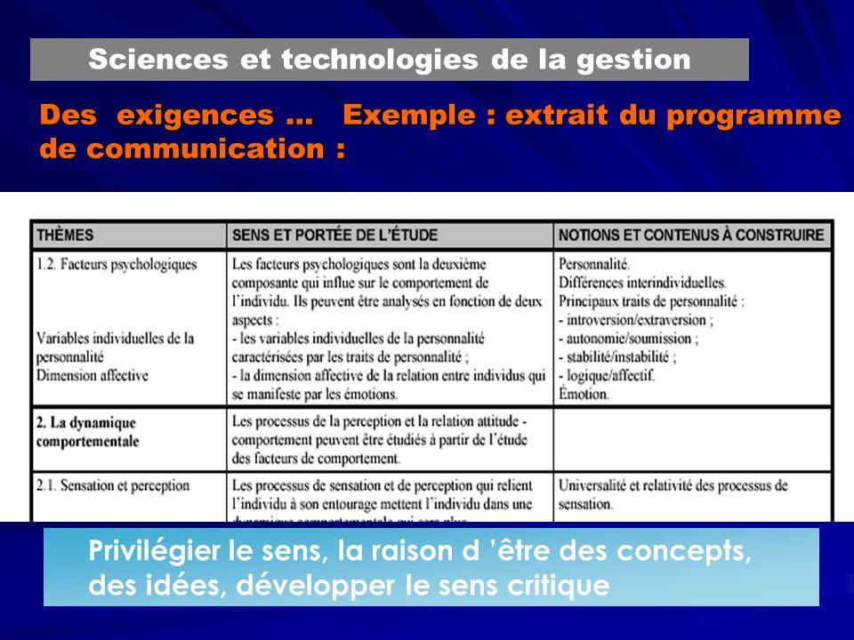 Des exigences … Exemple : extrait du programme de communication : Privilégier le sens, la raison d être des concepts, des idées, développer le sens critique Sciences et technologies de la gestion
