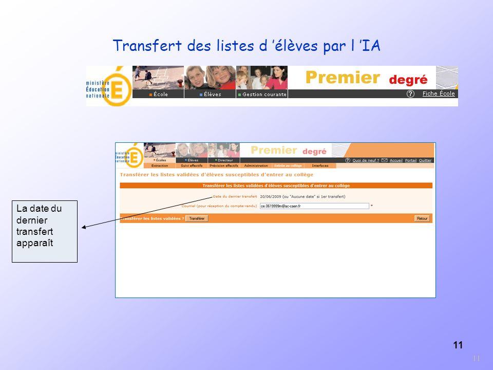 11 La date du dernier transfert apparaît 11 Transfert des listes d élèves par l IA