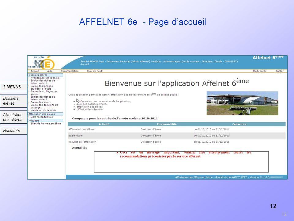 12 AFFELNET 6e - Page daccueil 12 Dossiers élèves Affectation des élèves 3 MENUS Résultats