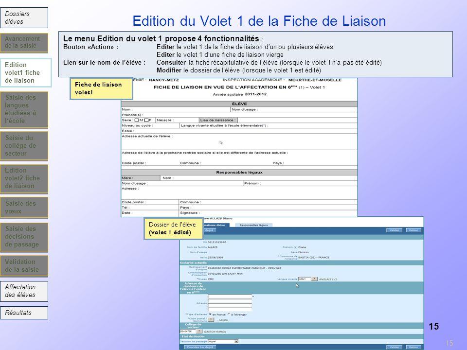 15 Edition du Volet 1 de la Fiche de Liaison Saisie des langues étudiées à lécole Saisie du collège de secteur Edition volet2 fiche de liaison Saisie