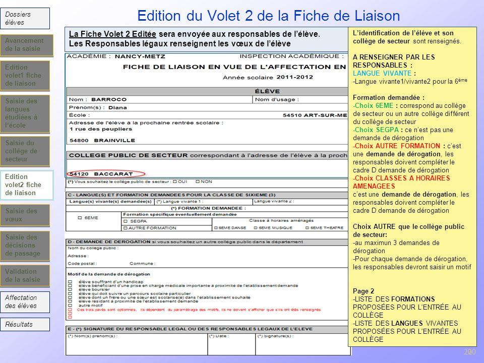 20 Edition volet1 fiche de liaison Saisie des langues étudiées à lécole Saisie du collège de secteur Edition volet2 fiche de liaison Saisie des vœux S