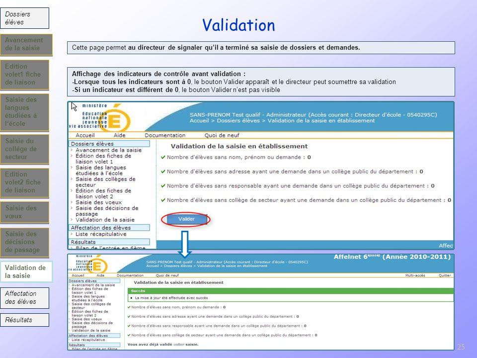25 Edition volet1 fiche de liaison Saisie des langues étudiées à lécole Saisie du collège de secteur Edition volet2 fiche de liaison Saisie des vœux V