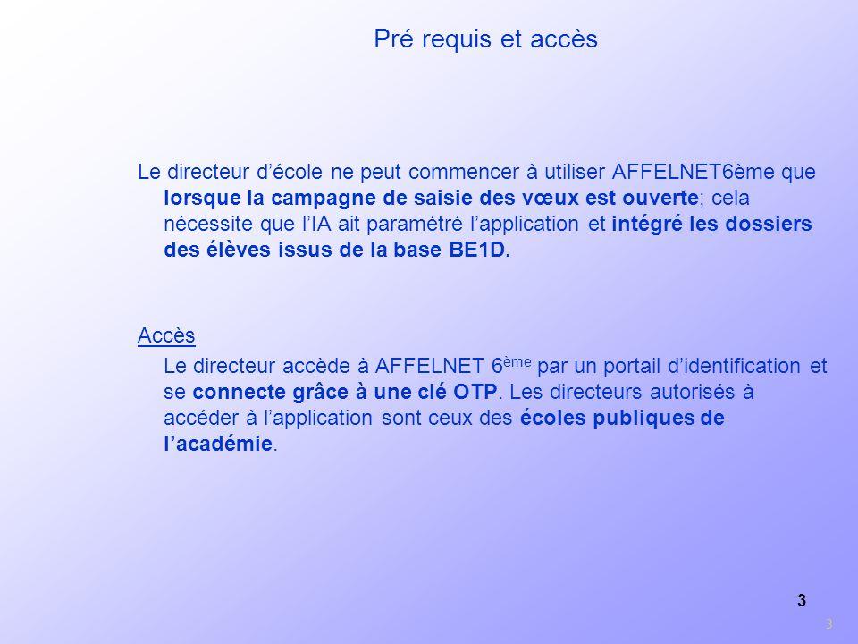 3 Pré requis et accès Le directeur décole ne peut commencer à utiliser AFFELNET6ème que lorsque la campagne de saisie des vœux est ouverte; cela néces