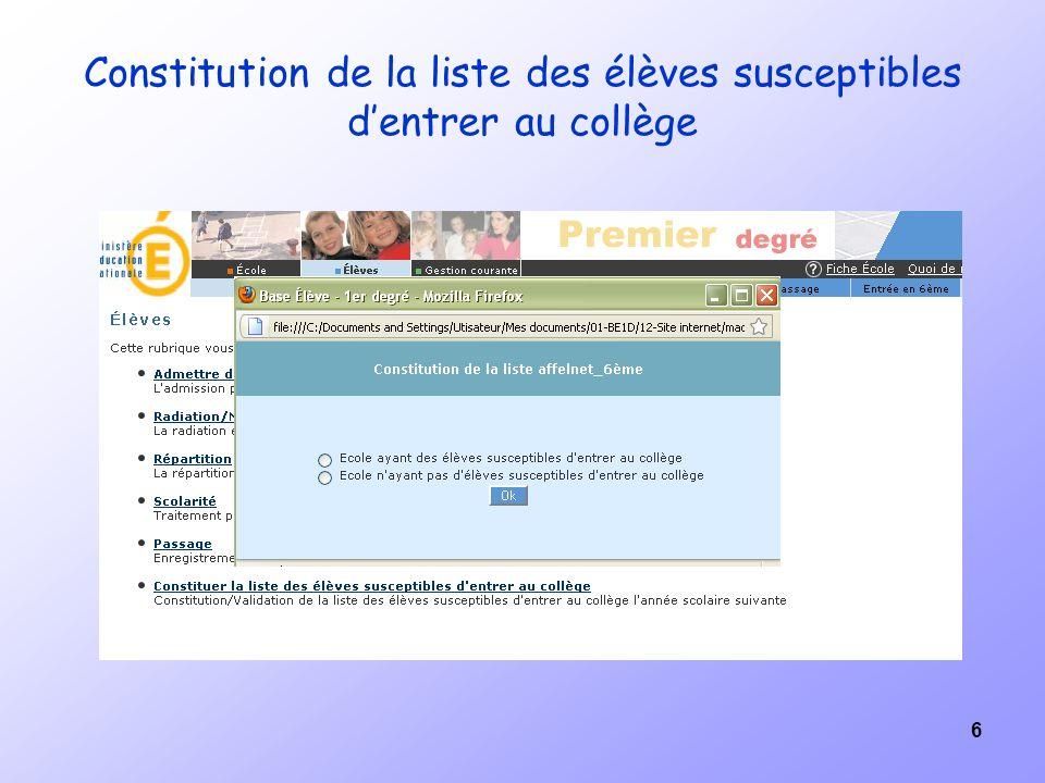 6 Constitution de la liste des élèves susceptibles dentrer au collège