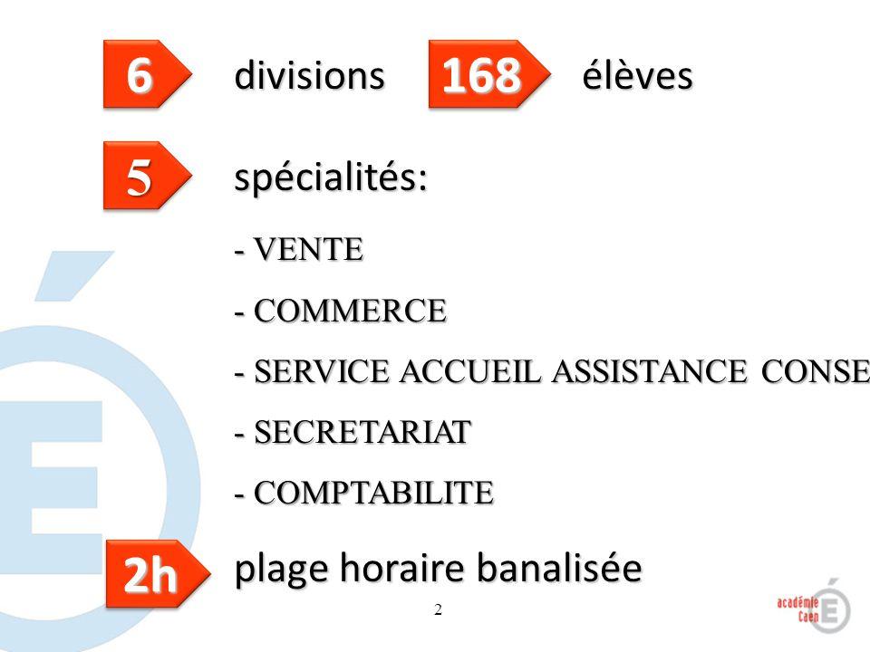 2 spécialités: - VENTE - COMMERCE - SERVICE ACCUEIL ASSISTANCE CONSEIL - SECRETARIAT - COMPTABILITE 55 66 divisions 168168 élèves 2h2h plage horaire b