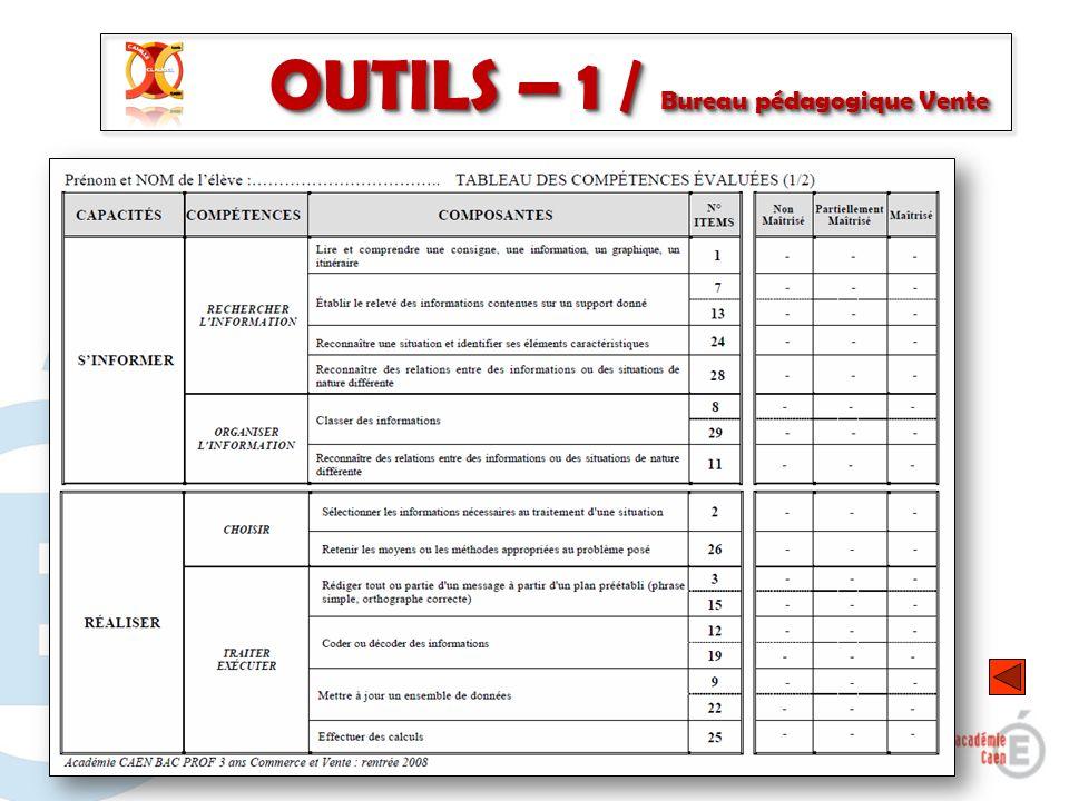 6 OUTILS – 1 / Bureau pédagogique Vente