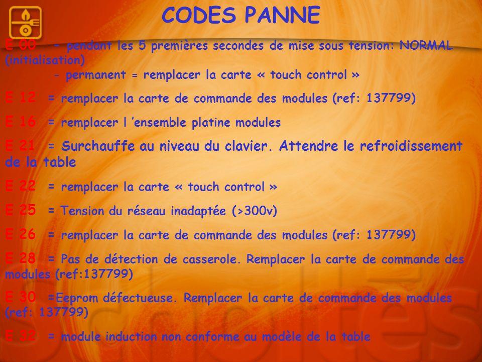 CODES PANNE E 00 - pendant les 5 premières secondes de mise sous tension: NORMAL (initialisation) - permanent = remplacer la carte « touch control » E