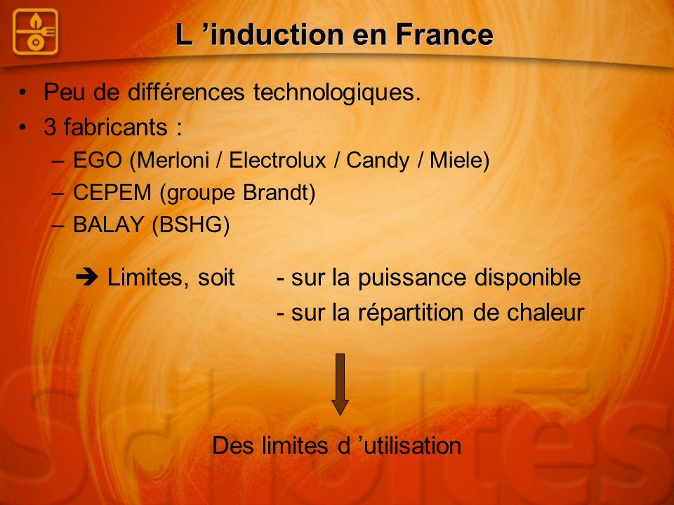 L induction en France Peu de différences technologiques. 3 fabricants : –EGO (Merloni / Electrolux / Candy / Miele) –CEPEM (groupe Brandt) –BALAY (BSH