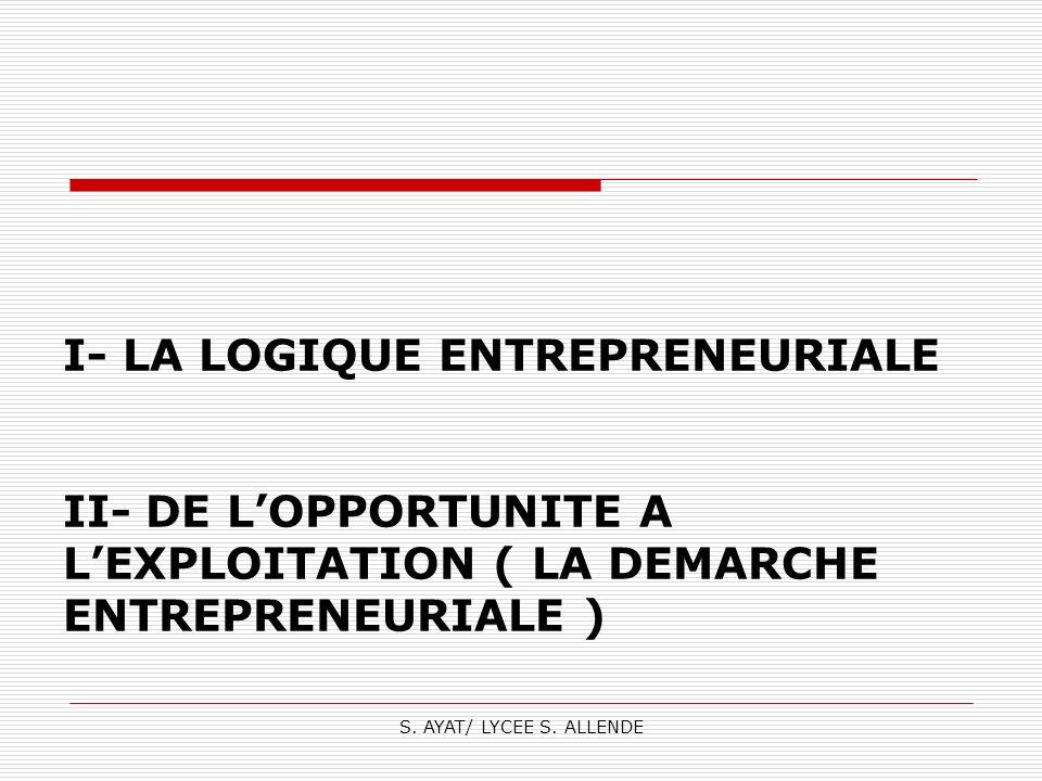 S. AYAT/ LYCEE S. ALLENDE I- LA LOGIQUE ENTREPRENEURIALE II- DE LOPPORTUNITE A LEXPLOITATION ( LA DEMARCHE ENTREPRENEURIALE )