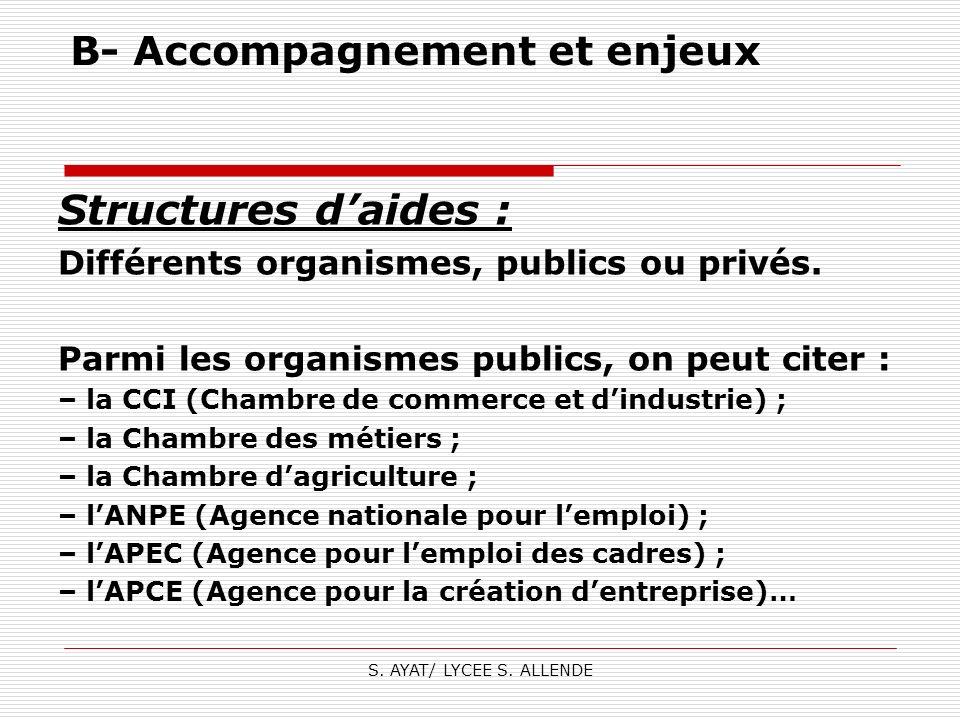 S. AYAT/ LYCEE S. ALLENDE B- Accompagnement et enjeux Structures daides : Différents organismes, publics ou privés. Parmi les organismes publics, on p
