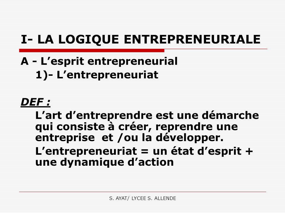 S. AYAT/ LYCEE S. ALLENDE I- LA LOGIQUE ENTREPRENEURIALE A - Lesprit entrepreneurial 1)- Lentrepreneuriat DEF : Lart dentreprendre est une démarche qu