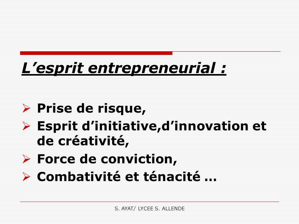 S. AYAT/ LYCEE S. ALLENDE Lesprit entrepreneurial : Prise de risque, Esprit dinitiative,dinnovation et de créativité, Force de conviction, Combativité