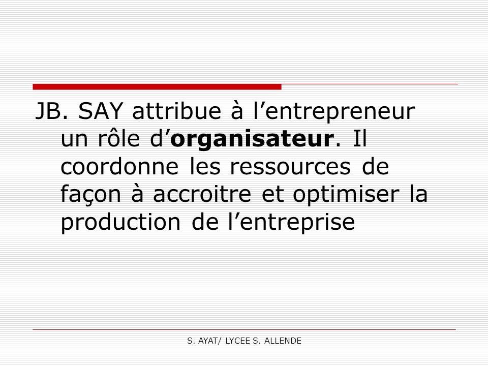 S. AYAT/ LYCEE S. ALLENDE JB. SAY attribue à lentrepreneur un rôle dorganisateur. Il coordonne les ressources de façon à accroitre et optimiser la pro