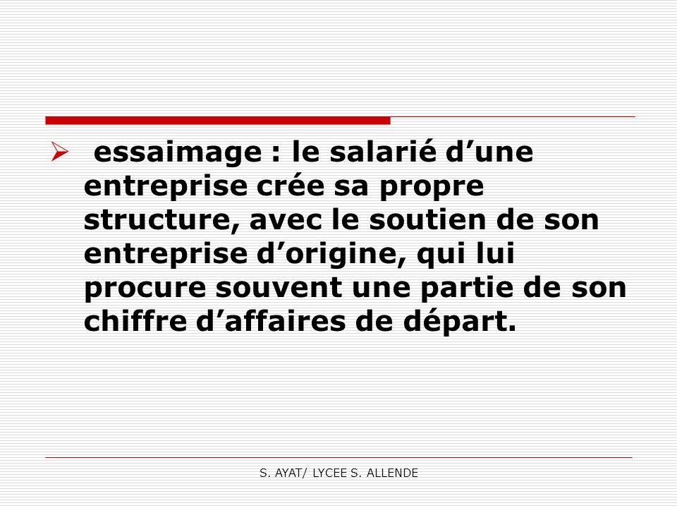 S. AYAT/ LYCEE S. ALLENDE essaimage : le salarié dune entreprise crée sa propre structure, avec le soutien de son entreprise dorigine, qui lui procure